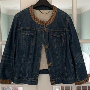 Elie Tahari embellished denim jacket